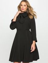 ELOQUII Plus Size Bow Neck Fit and Flare Shirt Dress