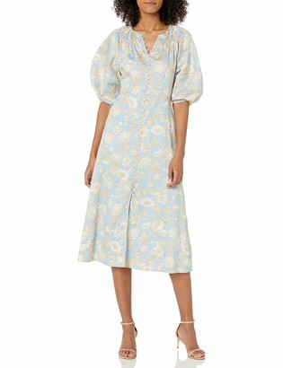 Rebecca Taylor Women's Short Sleeve Satin Leaf Dress