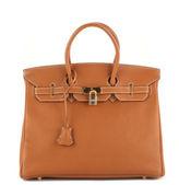 Hermes Gold Taurillon Clemence Leather Gold Tone 35cm Birkin Tote Handbag EVHB
