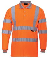 Forever Mens Long Full Sleeve Polo Collar T-shirt Hi Viz Reflective Workwear Safety Top