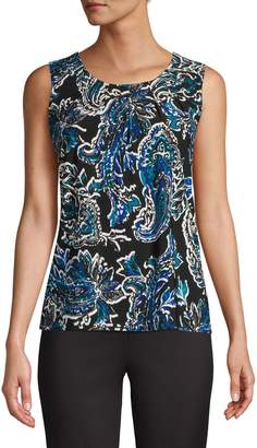 Kasper Suits Paisley Pleated Round-Neck Blouse