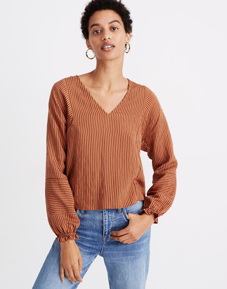 Madewell V-Neck Ruffle-Cuff Top in Stripe-Play