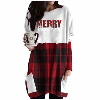 HEFYBA Merry Christmas Faceless Male Shirt Dress for Women Midi Long Sleeves with Pockets White
