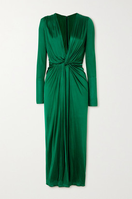 Dolce & Gabbana Twist-front Satin-jersey Midi Dress - Green