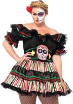 Leg Avenue Women's Plus-Size 2 Piece Day Of The Dead Doll Costume