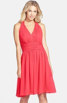 Eliza J Shirred Chiffon Halter Dress