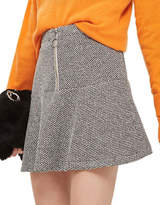 Topshop PETITE Salt-Pepper Peplum Hem Skirt