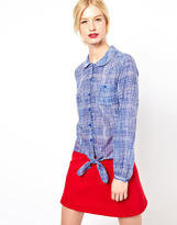 Jaeger Boutique by Cross Hatch Print Blouse with Tie Front