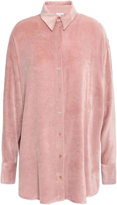 M Missoni Crepe De Chine-paneled Velvet Shirt