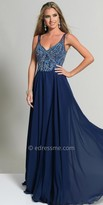Dave and Johnny Embellished V-Neck Illusion Evening Dress