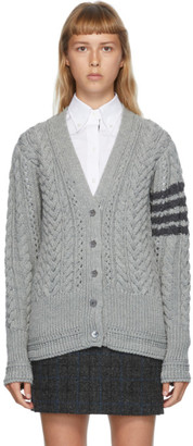 Thom Browne Grey Wool Aran Cable 4-Bar Cardigan