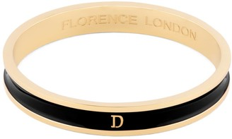 Florence London Initial D Bangle 18Ct Gold Plated With Black Enamel