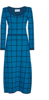 Luisa Beccaria Wool Checked Knit Dress