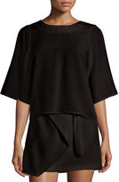 Halston Half-Sleeve Top W/ Chain Embellishment