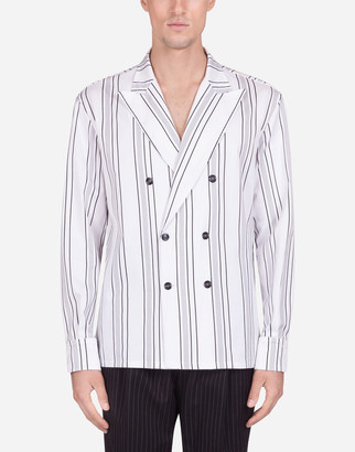Dolce & Gabbana Shirt In Striped Stretch Cotton