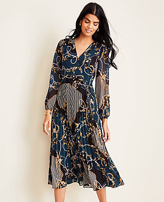 Ann Taylor Petite Scroll Pleated Wrap Dress