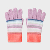 Paul Smith Girls' 7+ Years Cashmere-Blend Pastel-Stripe Gloves