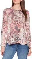Seidensticker Women's Shirtbluse Comfort Fit ohne Kragen Langarm Rundhals Blumendruck Blouse