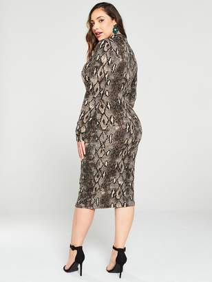 AX Paris Curve Bodycon Midi Dress -Snake Print