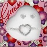 GUESS Women's UBS91108 – Earrings and Bracelet Set Silver Tone Metal Rhinestones 45 cm