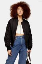 Topshop Womens Black Oversized Bomber Jacket - Black