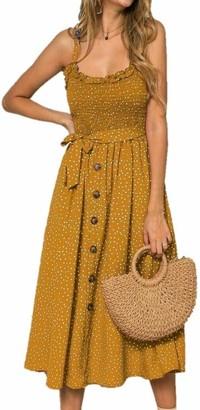 MUXILOVE Women Summer Sleeveless Ruffles Polka Dot Beach Dress Ladies Stretch Holiday Sundress (Large