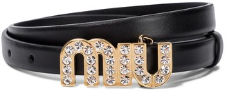 Miu Miu Crystal-embellished leather belt