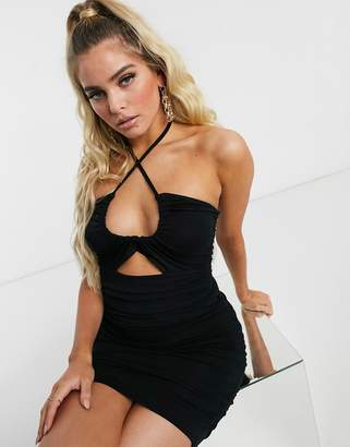 Asos Design DESIGN going out ruched mini dress with cut out in black