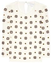 Diane von Furstenberg Luna Embellished Silk-blend Blouse