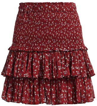 Etoile Isabel Marant Naomi Floral Smock Tier Ruffle Skirt