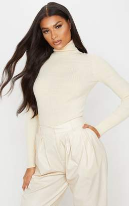 PrettyLittleThing Cream Ribbed Knitted Roll Neck Jumper