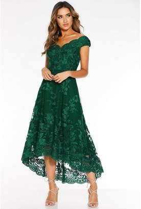 Quiz Bottle Green Embroidered Bardot Dip Hem Dress