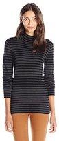 Calvin Klein Women's Essential Striped Mock Neck Sweater