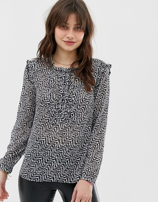 Maison Scotch Sheer Print Blouse with Lace Up Front-Grey