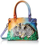 Anuschka Handpainted Leather Small Satchel Zebra Safari