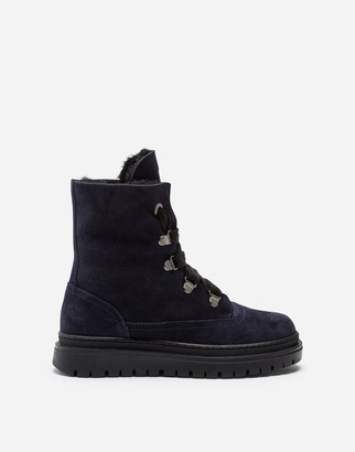 Dolce & Gabbana Split-Grain Leather And Shearling Combat Boots With Logo Tape