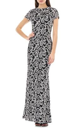 Carmen Marc Valvo Embellished Mesh Trumpet Gown