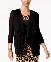 Thalia Sodi Draped Chiffon-Trim Cardigan, Only at Macy's