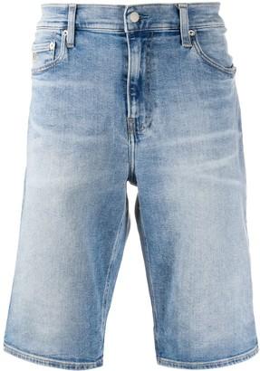 Calvin Klein Faded-Effect Denim Shorts