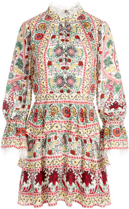 Alice + Olivia Lawson Mock Neck Floral Mini Dress