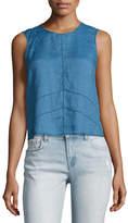 J Brand Saia Sleeveless Linen Chambray Top, Blue