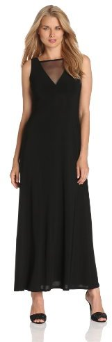 Isaac Mizrahi Women's Maxi Dress With Plunging Mesh-Neck and Back