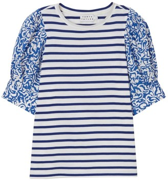 Tanya Taylor Alexi Striped Short-Sleeve Jersey Top