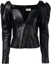Saint Laurent sweetheart leather top - women - Lamb Skin/Silk - 38
