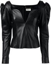 Saint Laurent sweetheart leather top - women - Silk/Lamb Skin - 38