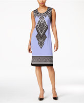 JM Collection Petite Embellished Printed Sheath Dress, Created for Macy's