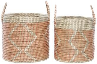 Venus Williams Round Seagrass Storage Baskets with Handles - Set of 2