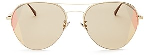 Bottega Veneta Women's Mirrored Brow Bar Aviator Sunglasses, 58mm