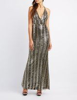 Charlotte Russe Sequin Open Back Maxi Dress