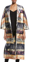 ADAM by Adam Lippes One-Button Silk-Lame Multipattern Jacquard Reversible Coat